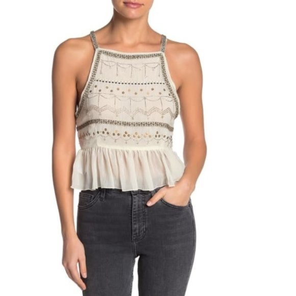 🎁Free People Camille Embroidered Bead Embellished